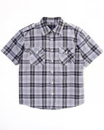 Boys Basic Plaid Woven Shirt (8-20) Black 10/12 (M