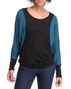 Women Color Block Long Sleeve Top Teal Small