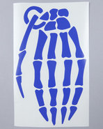 Men Skeleton Grenade 9  Die Cut Sticker Blue