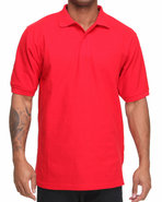Men Pique Solid Polo Red Large
