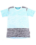 Boys Slub Striped V-Neck Tee (8-20) Blue 12/14 (M)