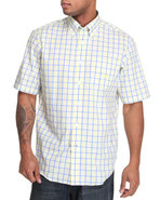 Men Poplin Ss Plaid Button Down Light Blue Medium