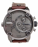 Men Little Daddy Gun Metal 51Mm Face W / Brown Lea