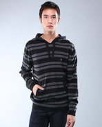 Djp Outlet Men Stripe Hoodie Black X-Large