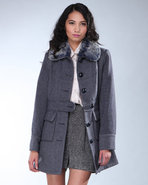 Djp Outlet Women&#39;s Wool Fur Collar Walker Coat Nav