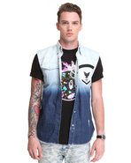 Men Ombre Sleeveless Button Down W/ Punk Accents L