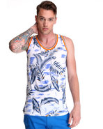 Men Graphic Hawiian Tank W/ Contrast Piping Detail