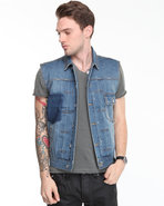 Men Studly Denim Vest W/ Ovachievas Patch Medium W