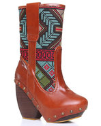 Women's Mandarim Ikat Print Boot Tan 9