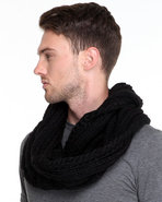 Men Infinity Cable Knit Scarf Black