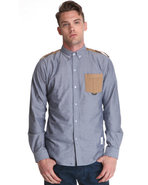 Men War Multi Fabric Button Down W/ Epaulet Detail