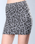 Djp Outlet Women's Leopard Mini Skirt Grey