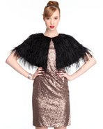 Djp Outlet Women&#39;s Faux Ostrich Feathers Caplet Bl