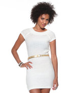 Djp Basics Women's Sweater Dress W/ Metallic Belt