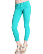 Women&#39;s Alex Mid Rise Crop Cotton Satin Pant Teal 