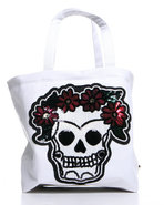 Women's Skull Sequins Tote Bag Off White