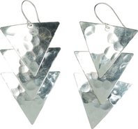 SILVER HAMMERED TRIANGLE EARRING
