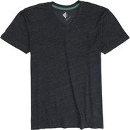 SOLID TRI BLEND SLUB VNECK Small Heather Black