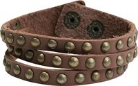 BROWN LEATHER STUDS BRACELET
