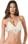AUDREY STRAIGHT FRINGE BIKINI TOP Medium Cream Whi