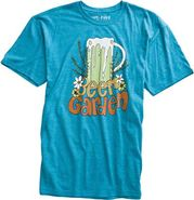 X ANDY DAVIS BEER GARDEN TEE Small Teal Blue