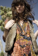 Vona Desert Fur Vest with Persimon Lining
