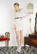 Portia Puff Shoulder Dress with Belt in Light Grey