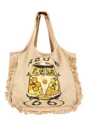 Hippie Van Fringe Tote Bag in Khaki