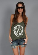 White Crest Boyfriend Tank in Militant