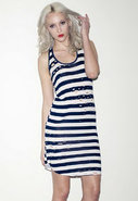 Ester Shred Tank Dress in Navy Stripe