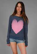 Big Pink Heart Baggy Beach Jumper in Midnight