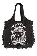 Hippie Van Fringe Tote Bag in Black
