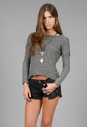 Judy Mesh Swing Long Sleeve Sweatshirt in Black