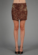 Sonia Pleated Cheetah Skirt in Brown