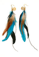 Feather Cluster Earring with Peace Sign Charm in B
