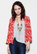 Short Kimono Jacket in Bird Print