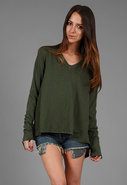 Long Sleeve Cropped Boxy Boyfriend Slub Tee in man