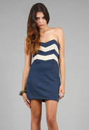 Zig Zag Strapless Dress in Blue/White