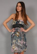 Strapless Moody Floral Dress in Dusty Lilac