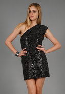 Sequin Mini Dress in Jet