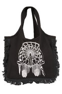 Miley Native Horseshoe Fringe Tote Bag in Black