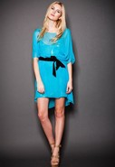 Dress with Sequin Slip in Aqua