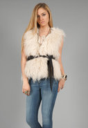 Tibetan Fur Gilet in Soft White