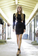 Long Sleeve Cut-Out Dress in Black