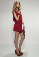 Deep V Mini Dress with Cowl Sleeve in Crimson