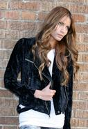 Crushed Velvet Moto Jacket in Black