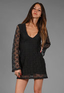 Sexy Lace V Neck Dress in Black Diamond Lace