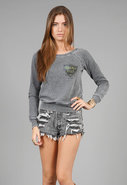 Beverly Hills Burnout Off The Shoulder Fleece in G