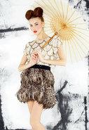 Kae Leopard Print Feather Skirt