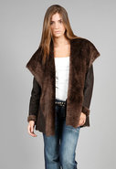 Hooded Shearling Car Coat in Dark Brown